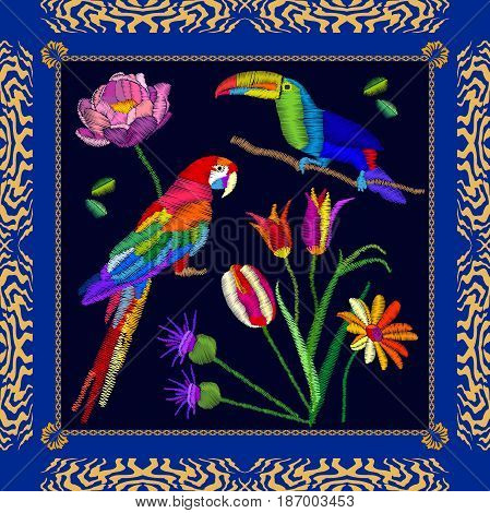 Scarf pattern with parrot, toucan and flowers. Colorful composition with bohemian motifs.