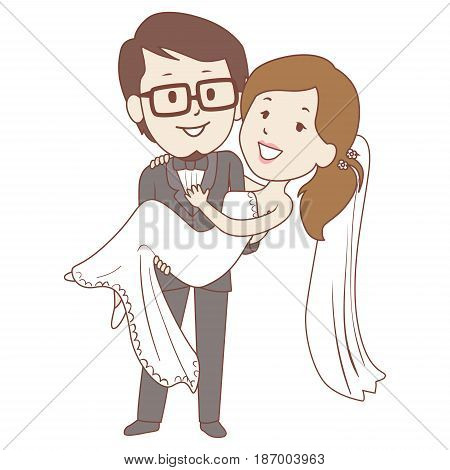 Vector Illustration of Groom carrying his Bride