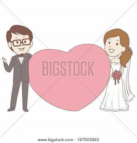 Vector Illustration of Bride and Groom Holding a Big heart frame
