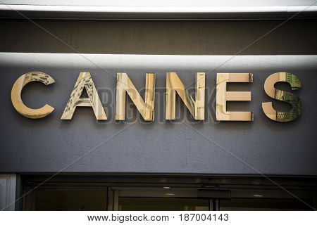 Golden Cannes sign at the luxury resort on French Riviera