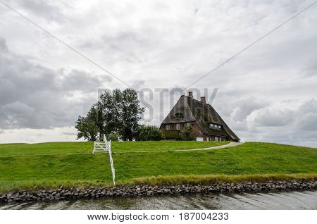 cottage with thatched roof on grassland cloudy sky