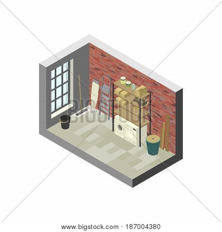 Storeroom in isometric view. Vector illustration of utility room with shelving.