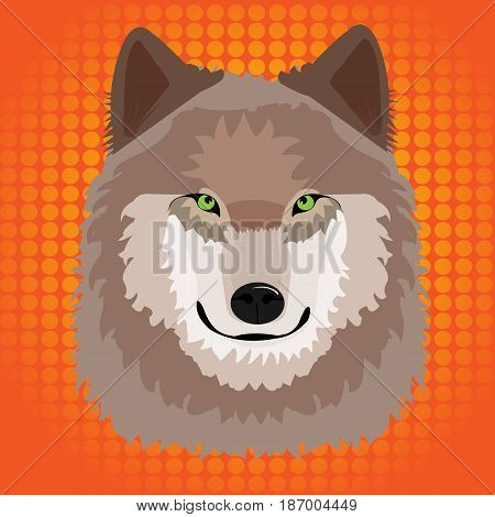 Illustration of a wild wolf with pop art background