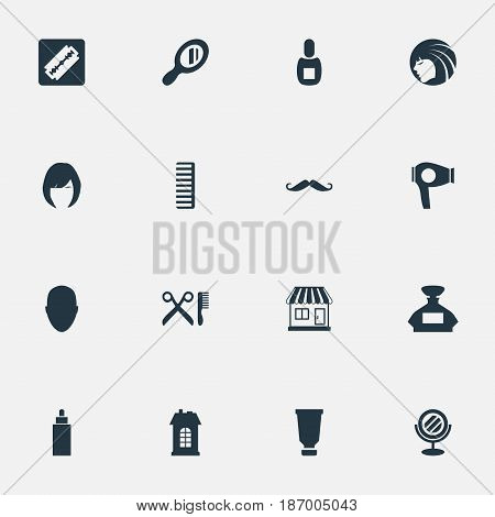 Vector Illustration Set Of Simple Hairdresser Icons. Elements Scent, Human, Hackle And Other Synonyms Store, Glass And Female.