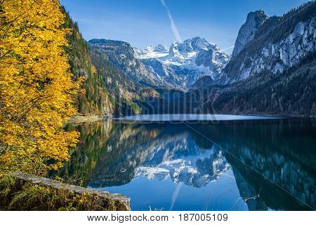 Autumn Scenery With Dachstein Mountain At Gosausee, Salzkammergut, Austria