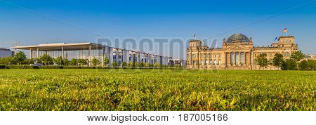 Berlin Government District With Reichstag At Sunset, Berlin, Germany