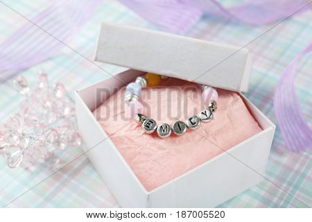 Bracelet with baby name in gift box