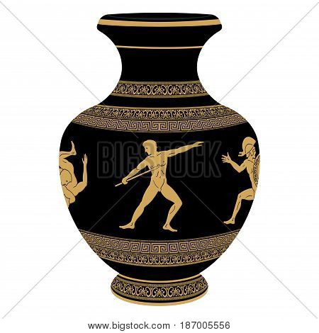 Ancient Greek vase depicting national ornaments and warrior with a spear.