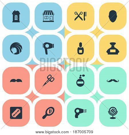 Vector Illustration Set Of Simple Hairdresser Icons. Elements Glamour Lady, Barber Tools, Blow Dryer And Other Synonyms Reflector, Barbershop And Shop.