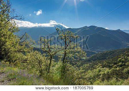 French countryside. View from the Col de la Croix to the mountains of Vercors, Drome