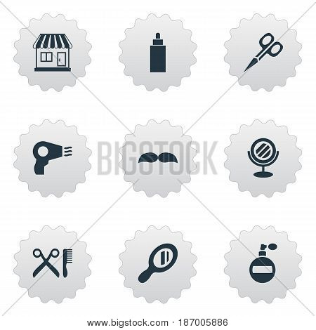 Vector Illustration Set Of Simple Beautician Icons. Elements Supermarket, Beard, Peeper And Other Synonyms Whiskers, Mustache And Shop.