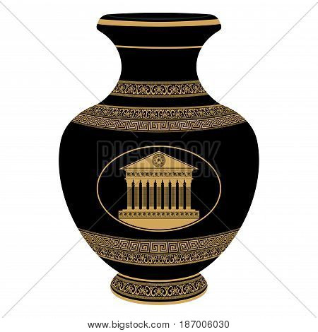 Ancient Greek vase depicting national ornaments and palace.