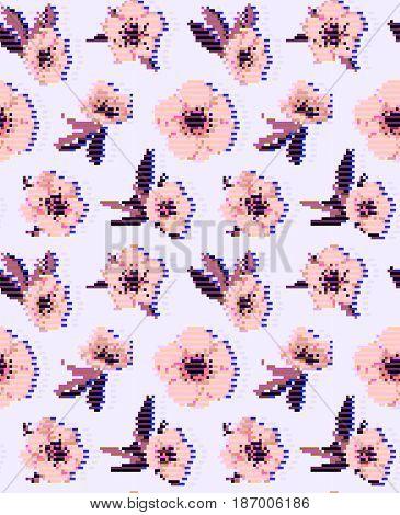 Anemone flower seamless pattern. Vector illustration eps 10