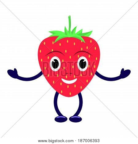 Vector illustration of a cartoon character smiling red strawberry. Isolated on white background. Funny fruit berry wild strawberry with eyes, legs and hands. Flat style.