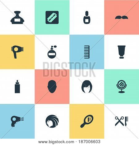 Vector Illustration Set Of Simple Barber Icons. Elements Scent, Barber Tools, Peeper And Other Synonyms Aroma, Machine And Beard.