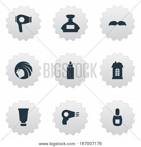 Vector Illustration Set Of Simple Hairdresser Icons. Elements Scent, Flask, Glamour Lady And Other Synonyms Hairdryer, Machine And Drying.