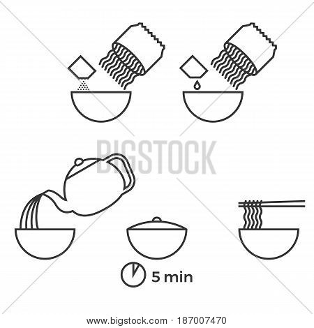 graphic info of prepare instant noodle for use as manual on packaging, outline icon vector
