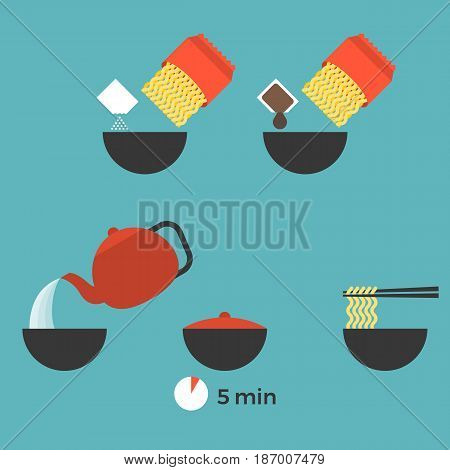 graphic info of prepare instant noodle for use as manual on packaging, flat design vector