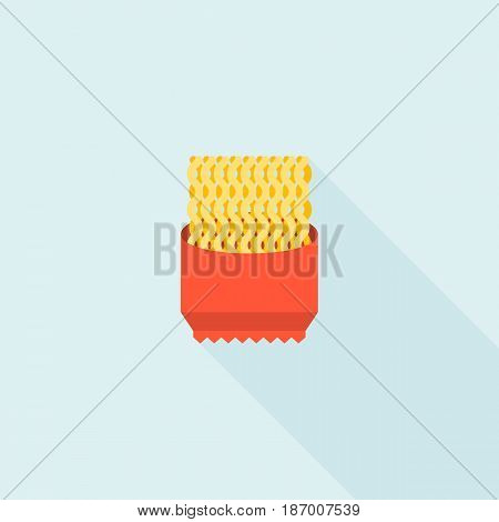 instant noodle icon, flat design vector with long shadow