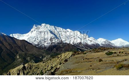 Majestic Panoramic View Of Annapurna And Gangapurna Range. Annapurna Circuit Trek, Himalayan Mountai