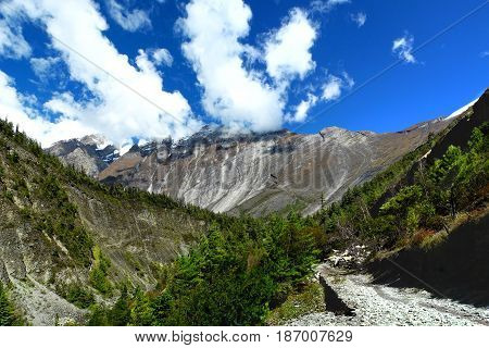 Famous Pisang Wall On Annapurna Circuit Trek, Nepal.