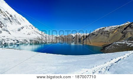 Beautiful Panoramic View Of Tilicho Lake On Annapurna Circuit Trek, Nepal.