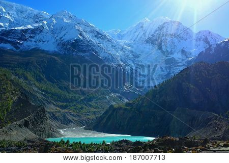 Beautiful Glacial Lake Near Manang Village On Annapurna Circuit Trek, Nepal.