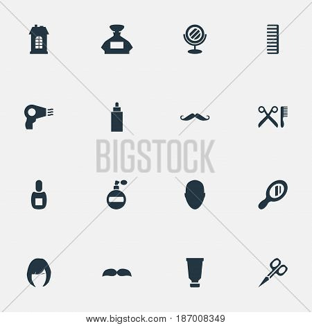 Vector Illustration Set Of Simple Barber Icons. Elements Hackle, Barber Tools, Bottle And Other Synonyms Bottle, Container And Head.