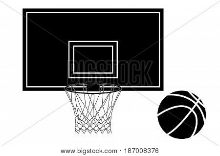 Basketball hoop and Basketball ball. Vector illustration isolated on white background.