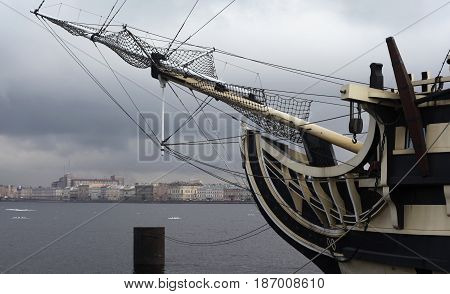 St. Petersburg, Russia - March 25, 2017: frigate on the embankment of the Neva River in the historical center of the city. St. Petersburg. Russia in March 25 in St. Petersburg, Russia