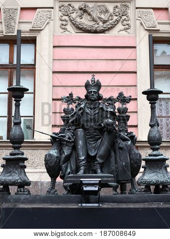 St. Petersburg, Russia - March 25, 2017: Mikhailovsky Castle (Engineers' Castle). Monument to Emperor Paul I. Museum in historic centre. tourist sighting in March 25 in St. Petersburg, Russia