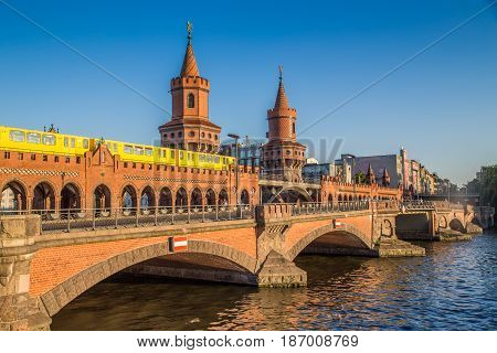 Oberbaum Bridge With Spree River At Sunset, Berlin, Germany