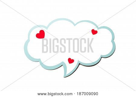 Colorful speech bubble with little hearts as a cloud with blue border isolated on empty white background. Copy space