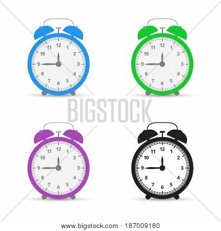 Alarm clock Set icons Flat design style. Vector illustration.