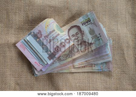 Close up of 1000 baht banknotes for any use
