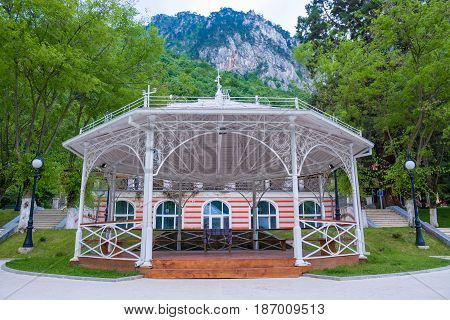 Central park in a daytime, Herculane resort Romania - Europe