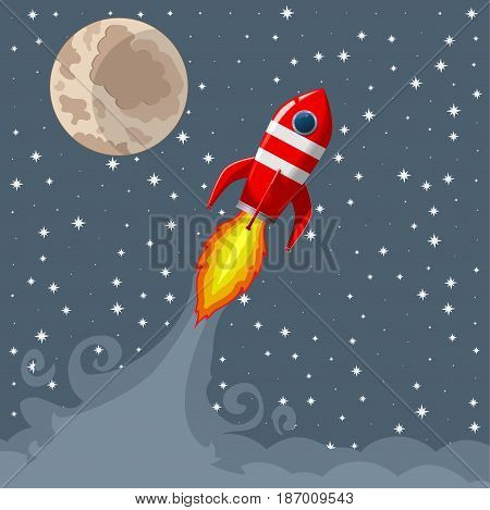 Retro Space Rocket Lifts Off. star background. moon