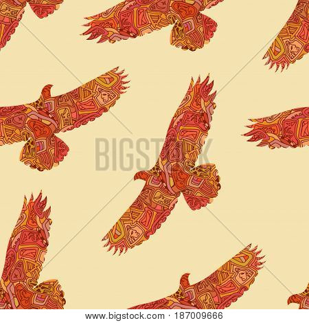 Seamless decorative tribal pattern with eagles. Vector illustration