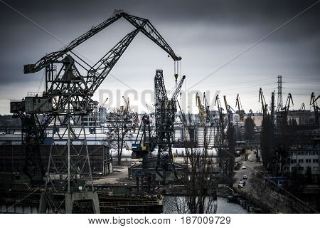 Heavy industry at the Gdansk shipyard in Poland