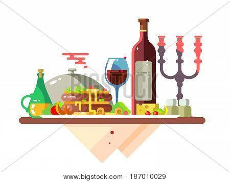 Dinner table with food at restaurant. Lunch dish, gourmet delicious, tasty dining, plate meat, wine glass, fresh fried, vector illustration