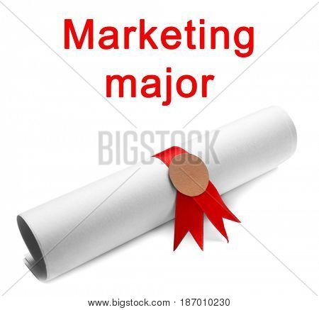 Marketing major concept. Diploma with ribbon on white background