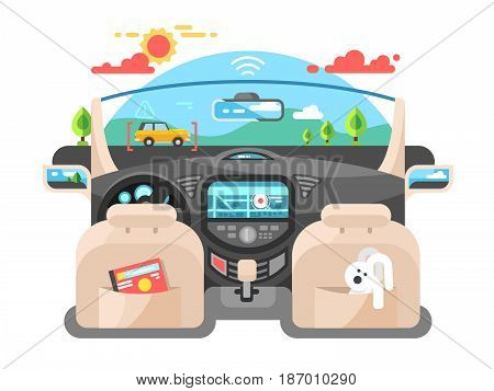 Car autopilot computer system Car technology, auto transport, automotive navigation transportation, vector illustration