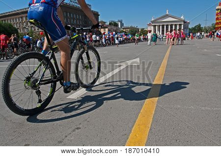 Volgograd Russia - June 12 2012: People take part in bike Parade on the Independence day of Russia in Volgograd