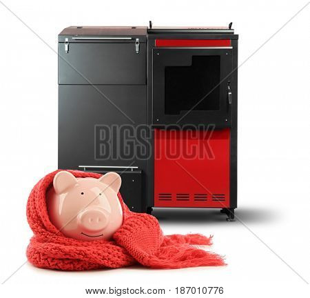 Piggy bank and solid fuel boiler on white background. Energy savings concept