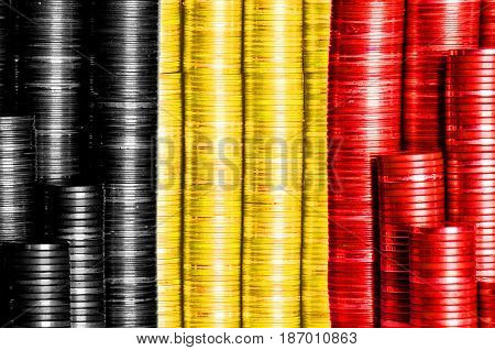 belgian money flag constucted from stacks of coins