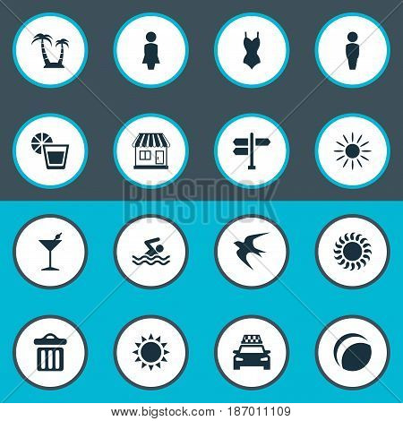 Vector Illustration Set Of Simple Beach Icons. Elements Palm, Sunlight, Bikini And Other Synonyms Palm, Dustbin And Store.