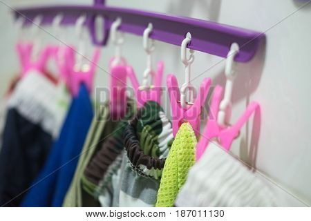 Cloth with pink pins. Housework family life household