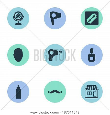 Vector Illustration Set Of Simple Beautician Icons. Elements Peeper, Container, Flask And Other Synonyms Man, Glass And Vial.