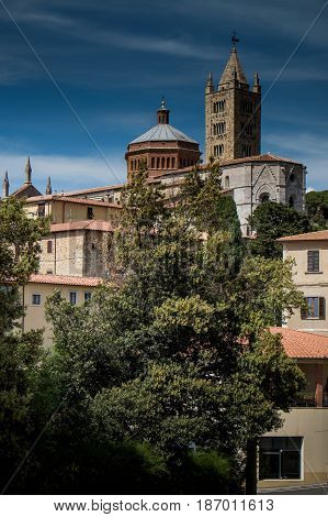 Massa Marittima, Italy - May 14, 2017: Medieval Town In Italy, The Cathedral