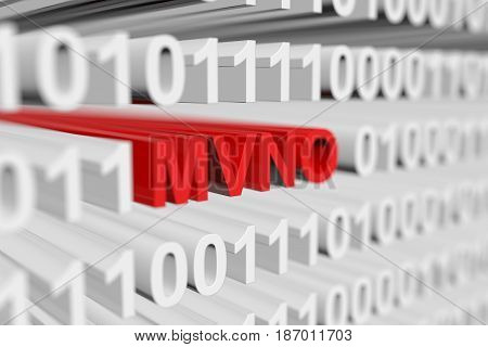 MVNO as a binary code with blurred background 3D illustration